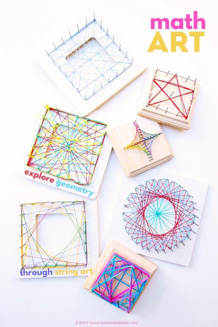 Math Art Worksheets : A beautiful steam project for kids math art string