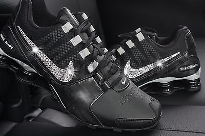 95b6b1facdf0 New Nike Shox Avenue Black Silver Swarovski Crystal Bling Accent Women