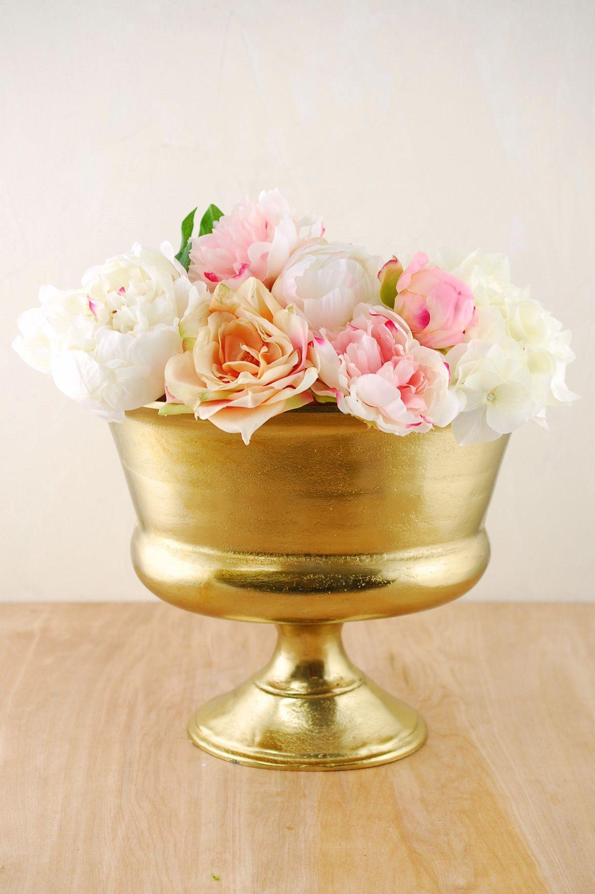 Gold Metal Vase For Centerpiece Arrangements Centerpieces Gold
