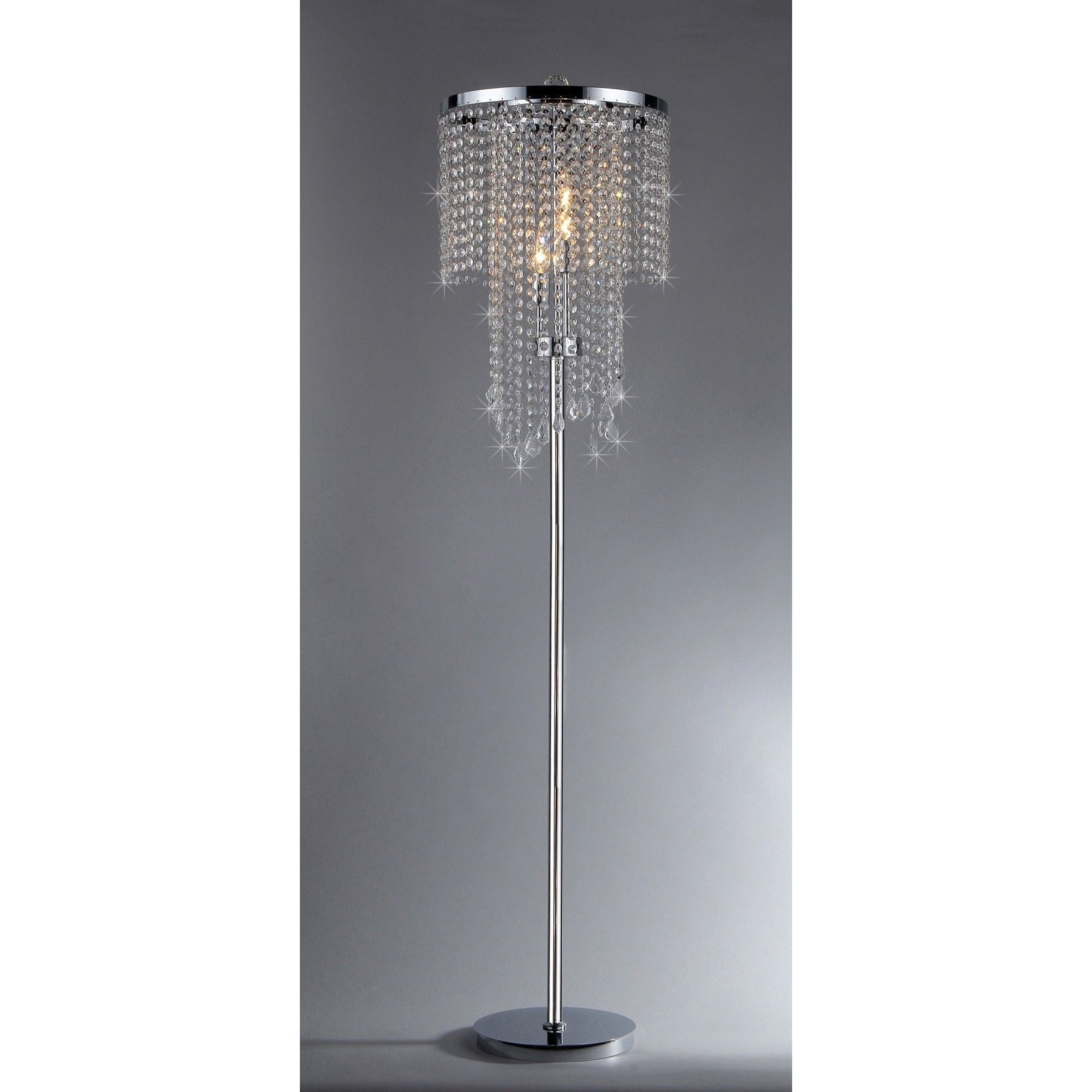 Modern crystal floor lamp - Instantly Add Sparkle To Your Favorite Room With This Modern Crystal Floor Lamp Featuring A Metal Stand With A Chrome Finish And A Cascading Crystal Shade