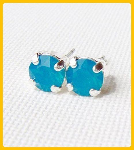6mm Caribbean blue rhinestone stud earrings made with Swarovski crystals - Wedding earings (*Amazon Partner-Link)