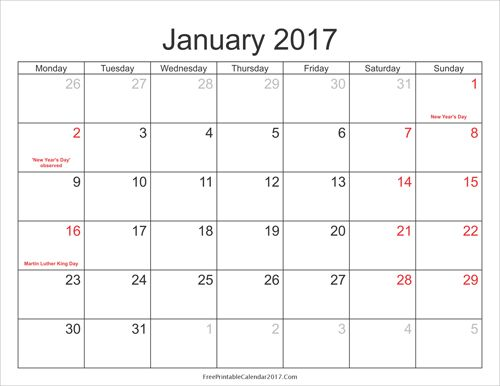 Free Printable Calendar With Holidays Business Templates - free blank spreadsheet templates