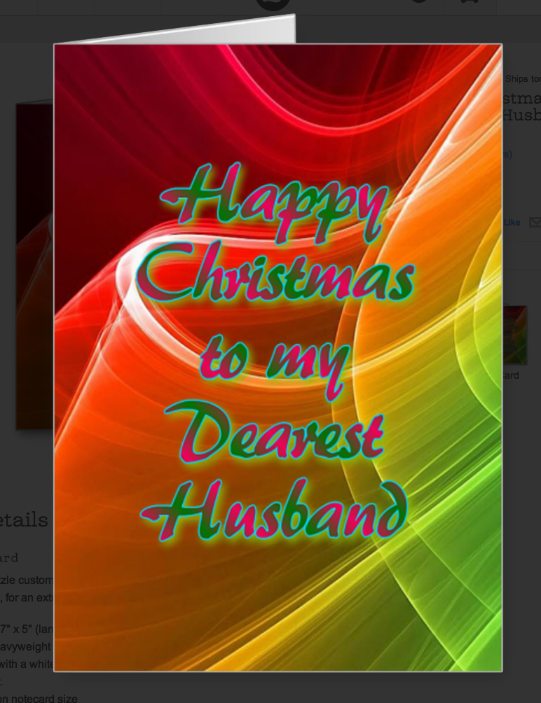 Strong Christmas colours and this greeting card for your husband. An affectionate greeting. What more could a man want! Christmas is the time of year to clearly reveal your loving feelings for each other. Don't miss the opportunity!