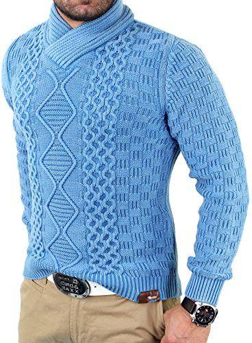 Tazzio Vintage Shawl Collar Men's Jumper Winter Sweater TZ - 409 - Blue -  Medium Tazzio