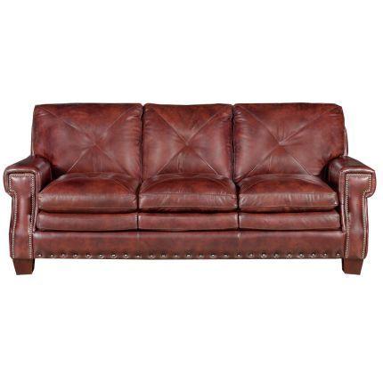 Classic Traditional Burgundy Leather Sofa Mckinney Best