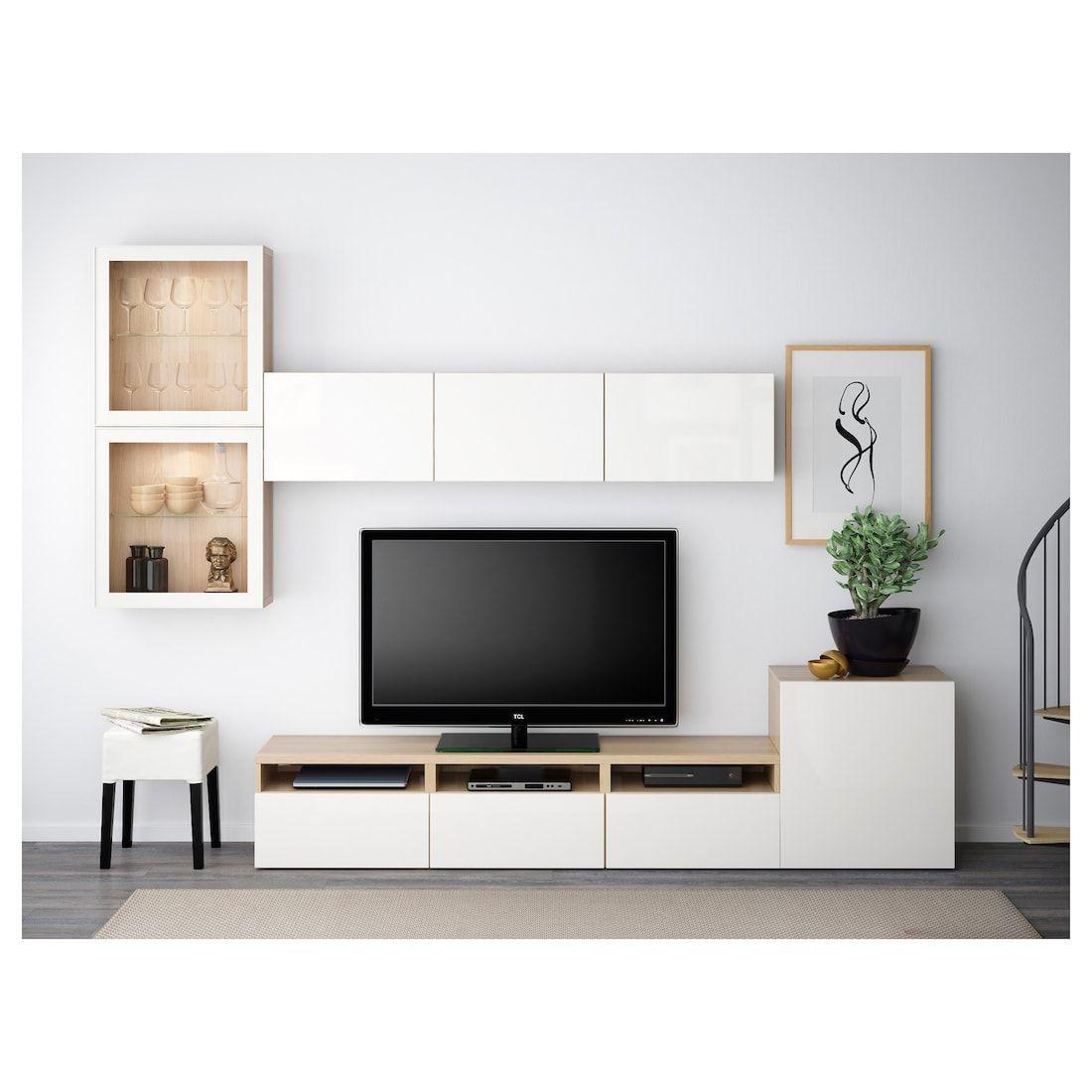 IKEA BESTÅ TV Komb. mit Vitrinentüren   Wohnung gestalten, Ikea wohnzimmer ideen, Wohnen