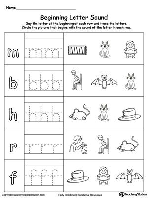 trace and match beginning letter sound at words word family worksheets letter sounds word. Black Bedroom Furniture Sets. Home Design Ideas