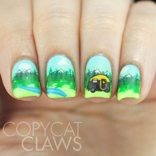 Camping Stamping Nails Copycat Claws Nailspiration Nails Nail