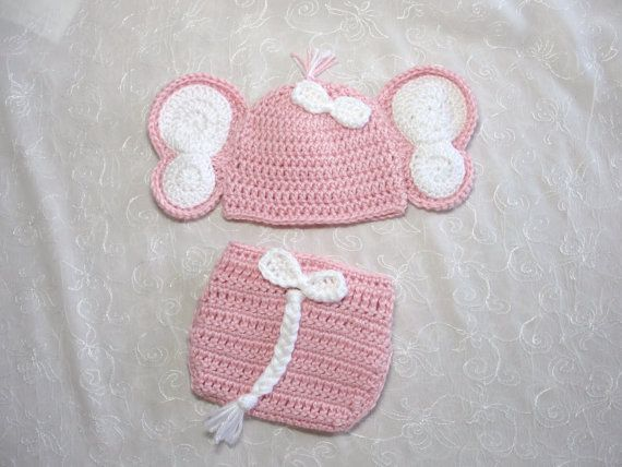 1c6391afd80 Baby Girl Elephant Hat with Matching Diaper Cover Set~Photo Prop ...