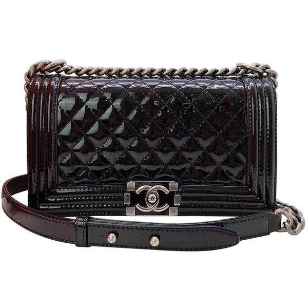 38cf17e42cc2 Pre-owned Chanel Boy Patent Leather Handbag ($3,890) ❤ liked on Polyvore  featuring bags, handbags, black, women bags handbags, patent handbags, purse  bag, ...
