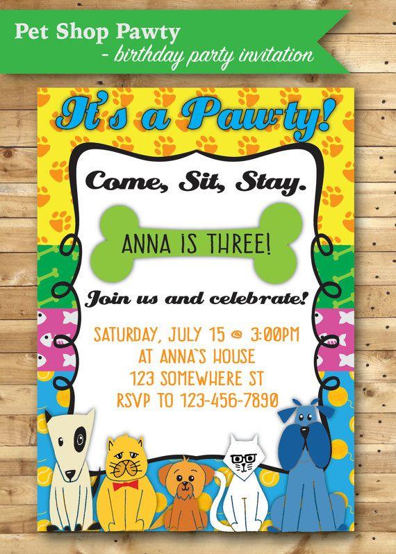 Birthday Party Invitation Pet Shop Pawty Theme 9th Invitations