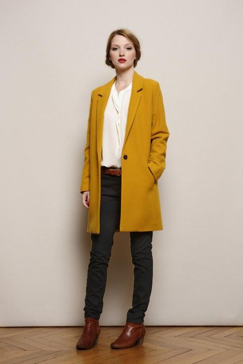 Manteau moutarde pantalon bleu chaussures camel beau mariage aventures modesques pinterest - Manteau mariage hiver ...