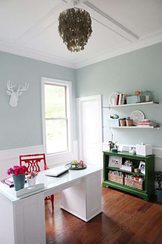 Office Reveal Bower Power Paint Color Benjamin Moore Palladian Blue Home Office Colors Office Colors Palladian Blue #palladian #blue #living #room