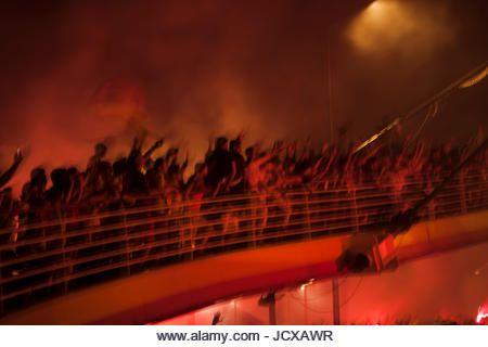 Crowd of people is celebrating anniversary of Goztepe football team (Izmir - Turkey)