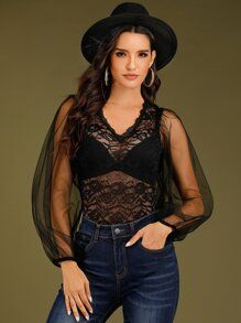 Sheer Lace Panel Mesh Sleeve Bodysuit Without Lingerie 12.00 USD