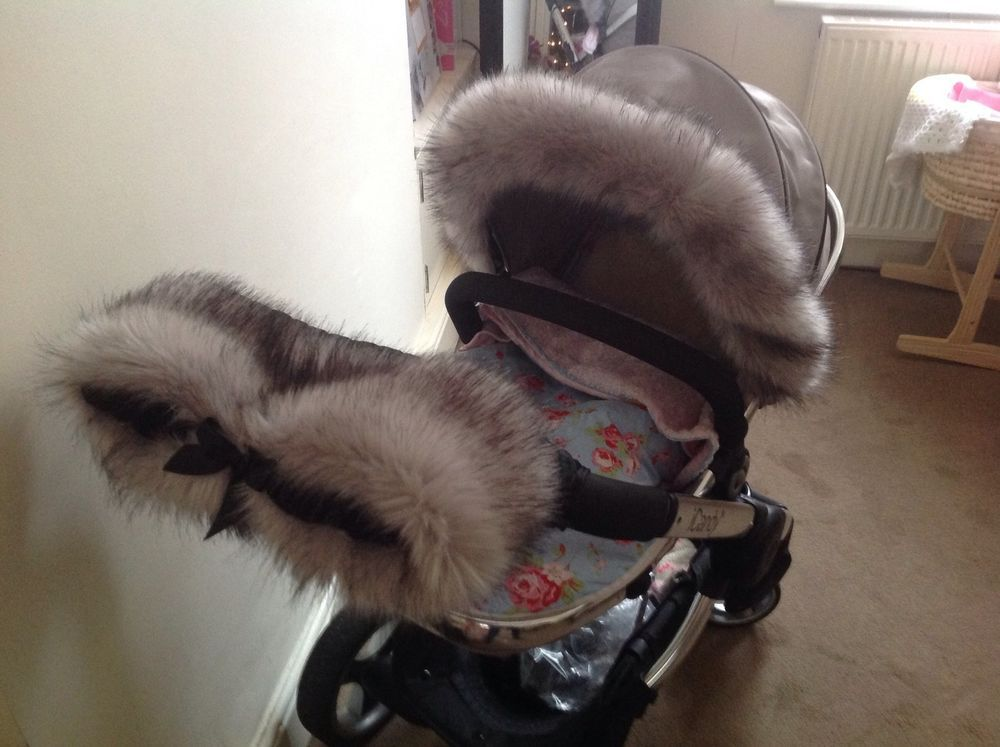 For-Your-Little-One Fur Hood Trim Pram Compatible on iCandy Black