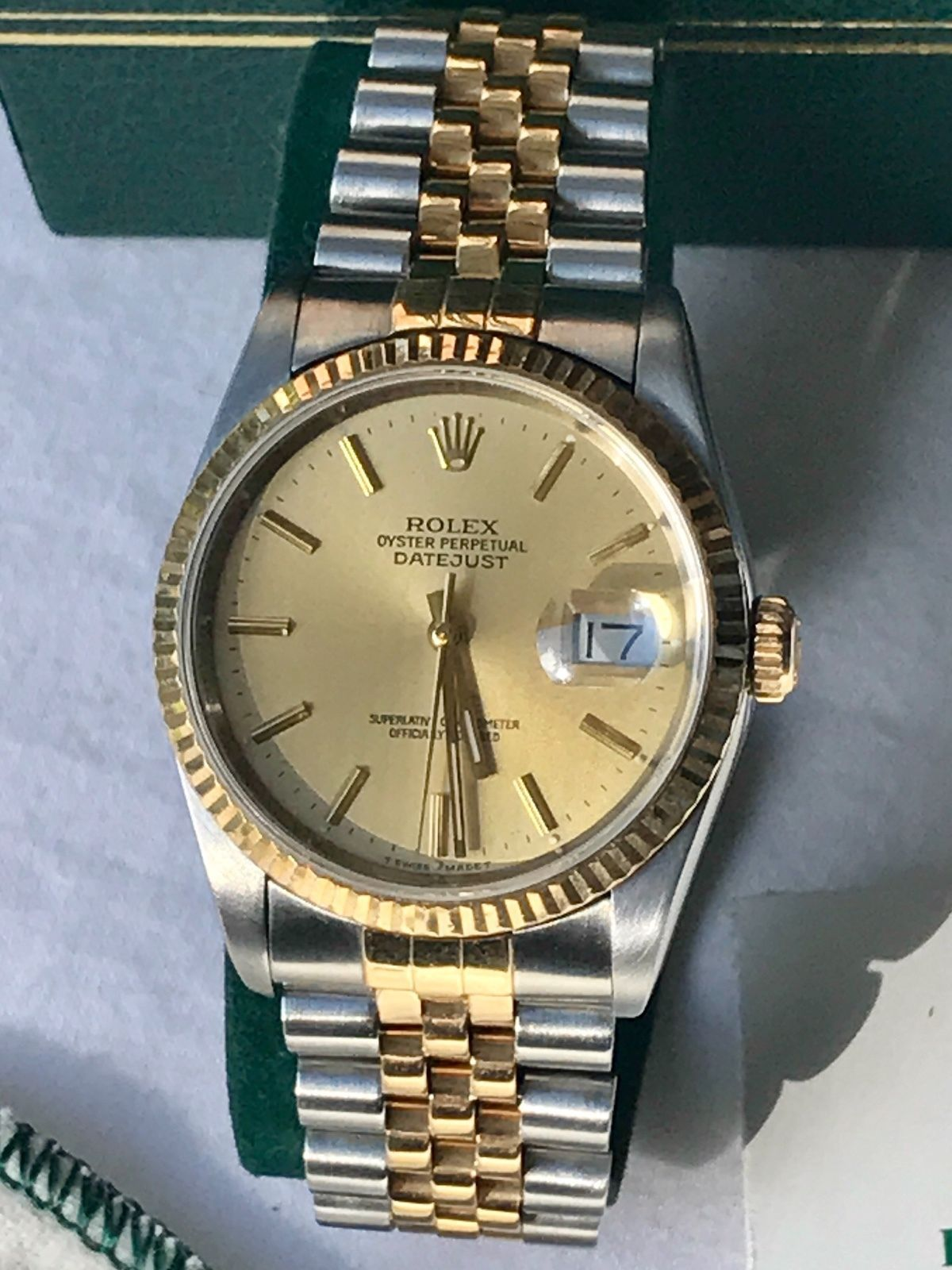 02100981965 #Forsale #Rolex Datejust 1988 Model 16233 W Full Box Set Papers Service  Receipt Books #Auction @$2,254.79