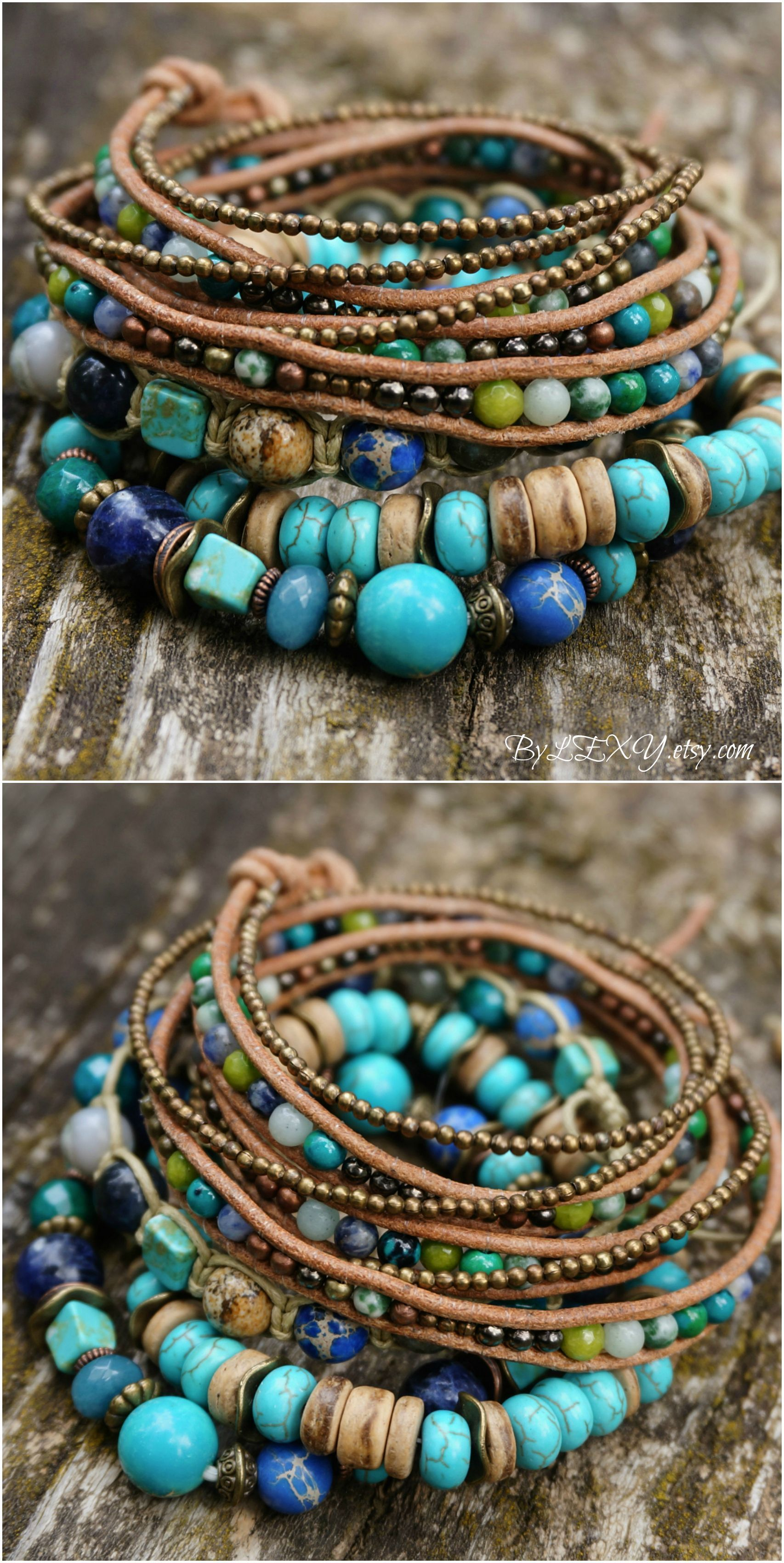 Bohemian 5 Wrap Mixed Gold Copper Pearl and Turquoise Leather Wrap Bracelet