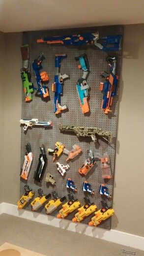 Nerf gun peg board storage paint my completed projects for Game storage ideas