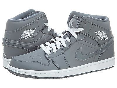 da8fd78d8e3b Nike Air Jordan 1 Mid Mens 554724-014 Cool Grey White Basketball Shoes Size  10