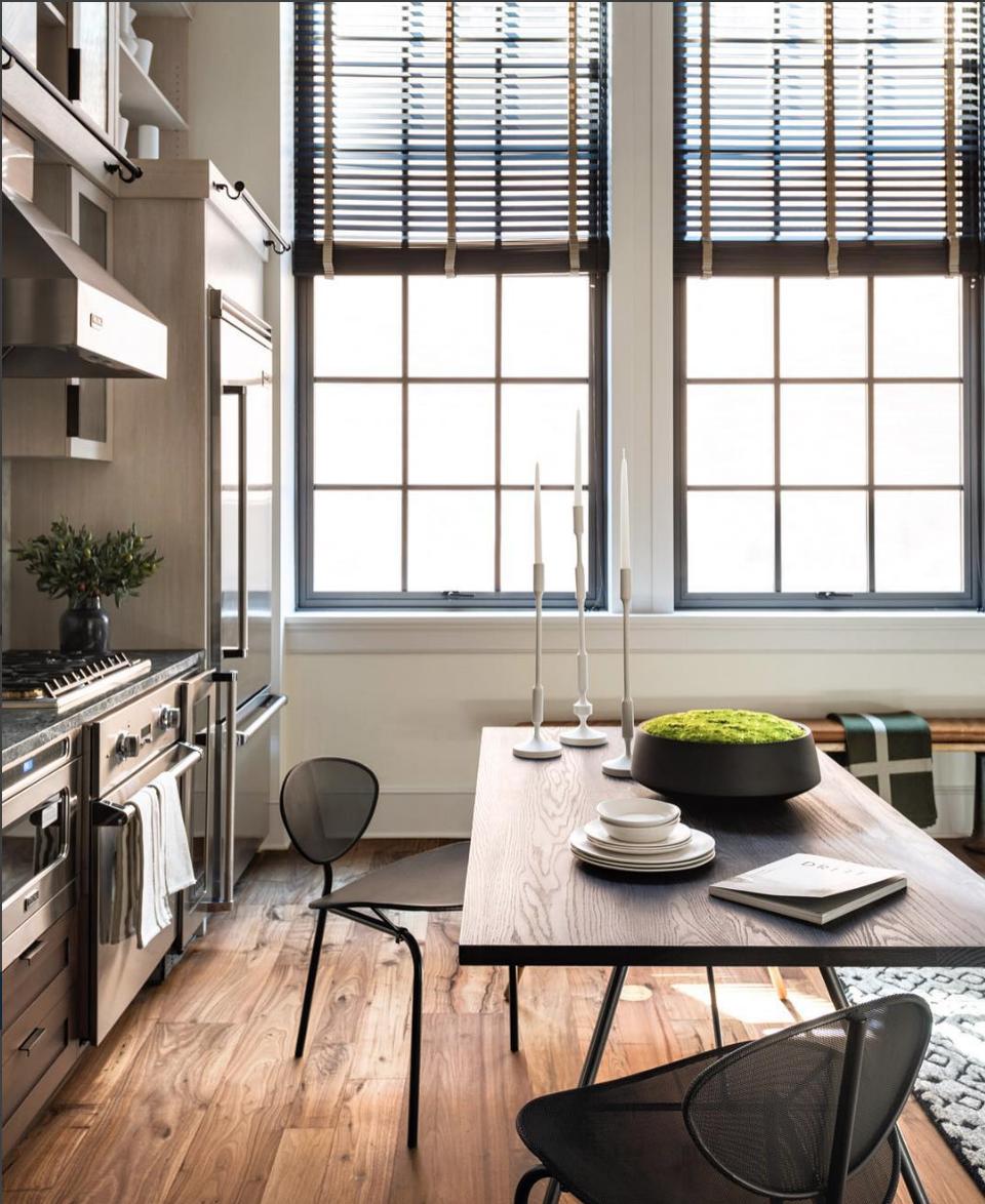 House wooden window design  dark window treatments over black window casings  contemporary