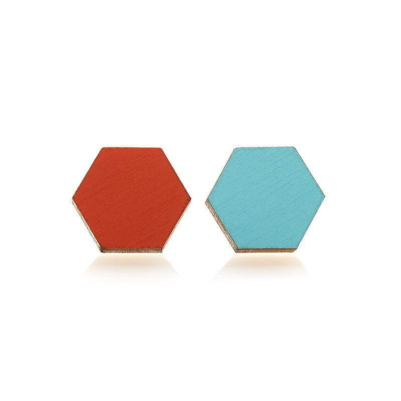 POLLI / Hex Studs - Tangerine/Aqua