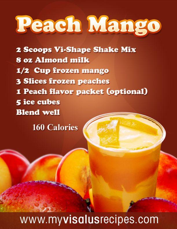 2 Scoops Vi-Shape Shake Mix  8 oz Almond milk  1/2 Cup frozen mango  3 Slices frozen peaches  1 Peach flavor packet (optional)  5 ice cubes  Blend well