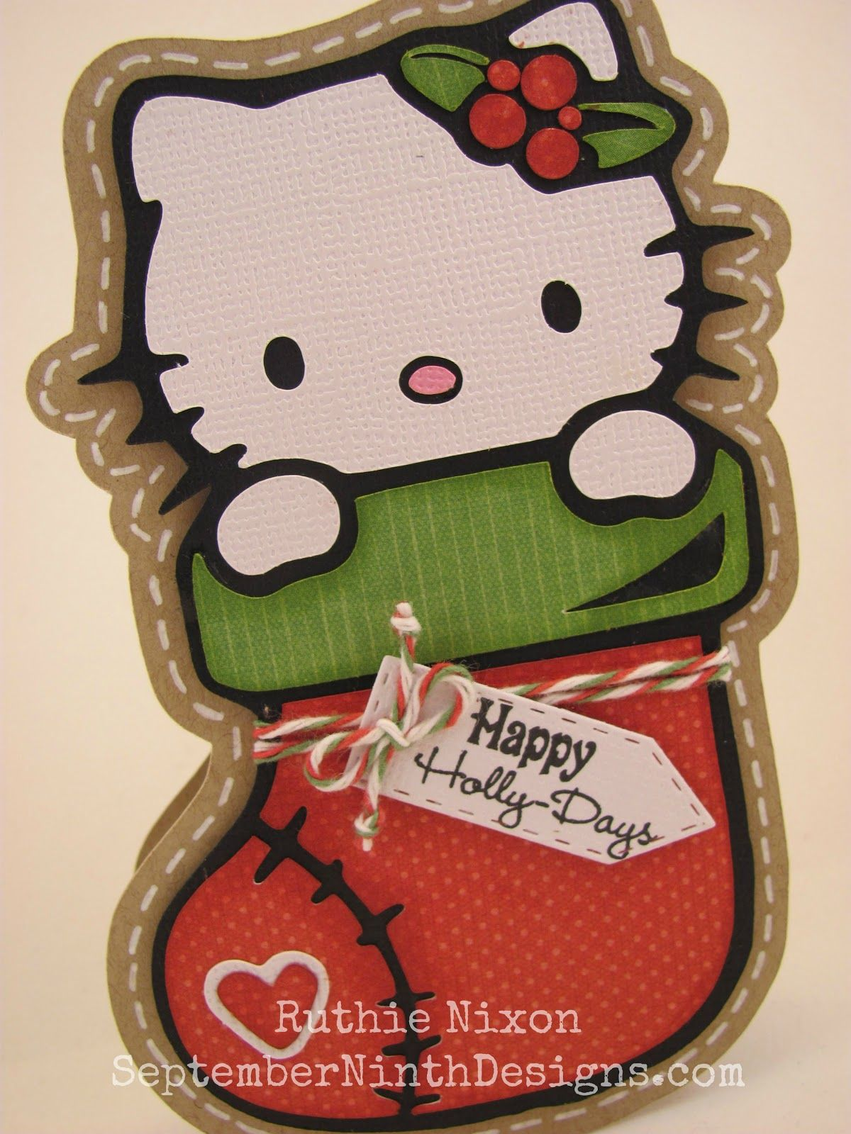 Kitty Stocking Free Svg File. #hellokitty #christmas