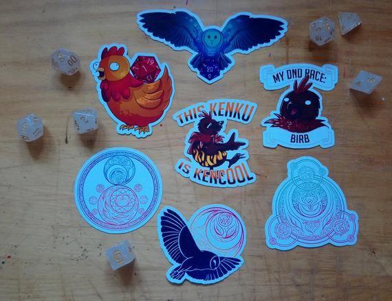 DnD and Magic Stickers    Kenku    D20   Dice   Magic Circles   Planners   Journal #magiccircle