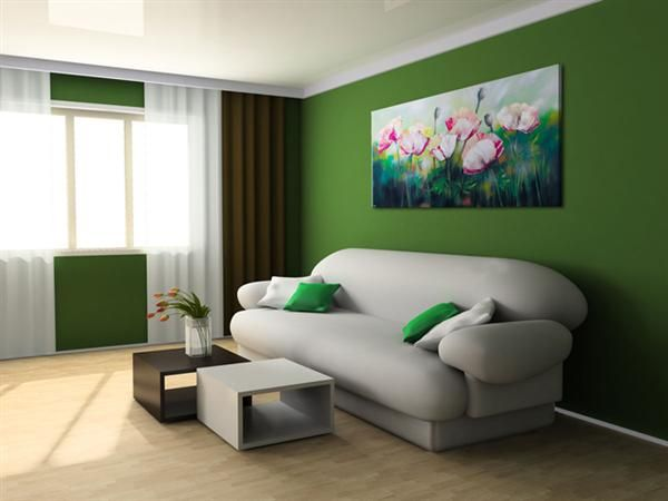 relaxing green rooms | ... green color on wall. Soft furniture is good choice to relax and rest