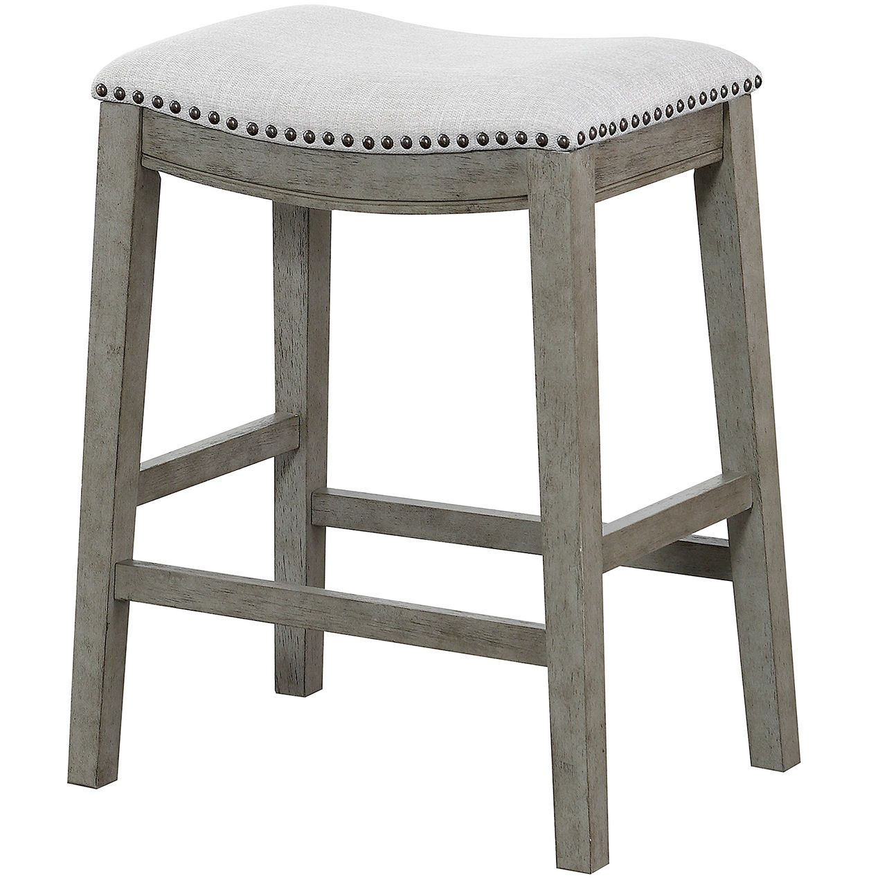 Haven Upholstered Saddle Style Light Grey Counter Stool Bar Stools Saddle Stools Counter Stools