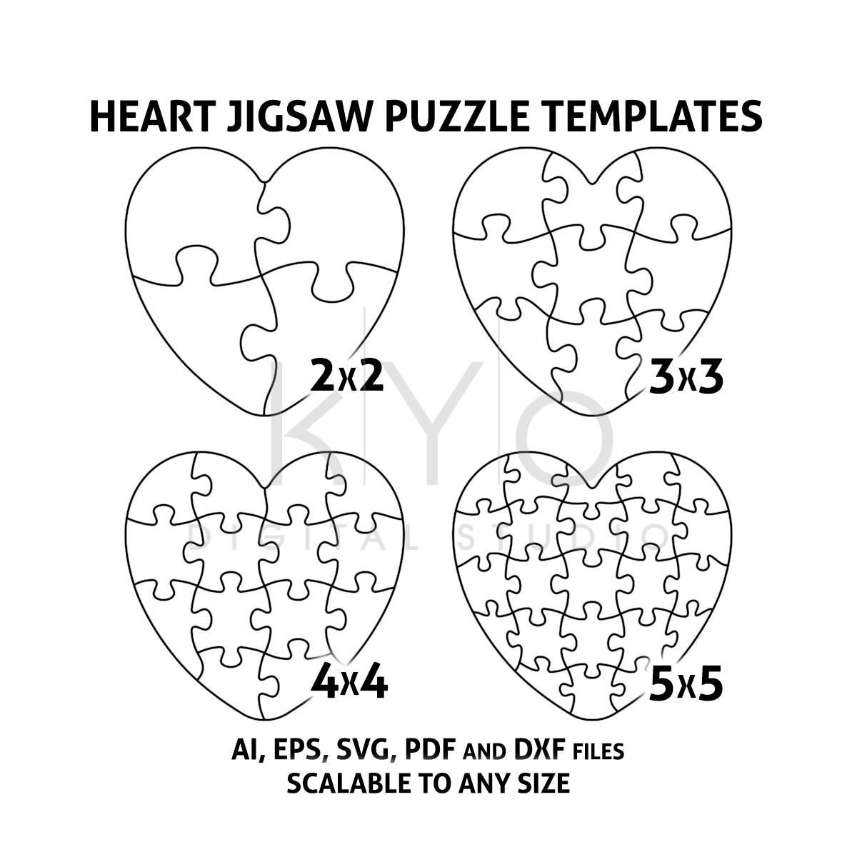 Heart Jigsaw Puzzle Templates AI EPS SVG pdf dxf files