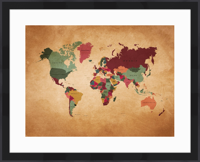 Quadro Mapa Mundi Envelhecido (On The Wall) com moldura preta 64x52cm (imagem 48x36cm) | Crie o seu quadro https://www.onthewall.com.br/mapa-mundi-envelhecido #quadro #moldura #canvas #decoração