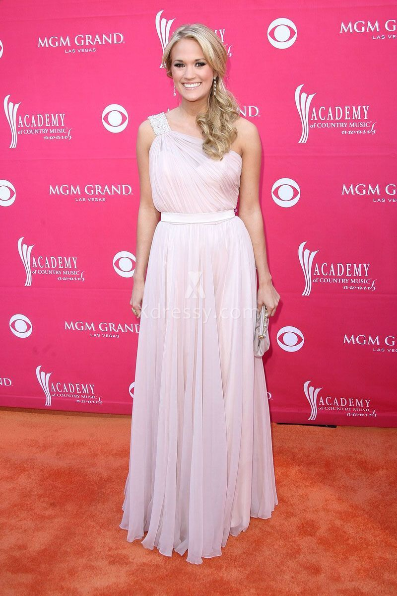 Carrie Underwood Cute Pink One Shoulder Pageant Prom Dress County ...
