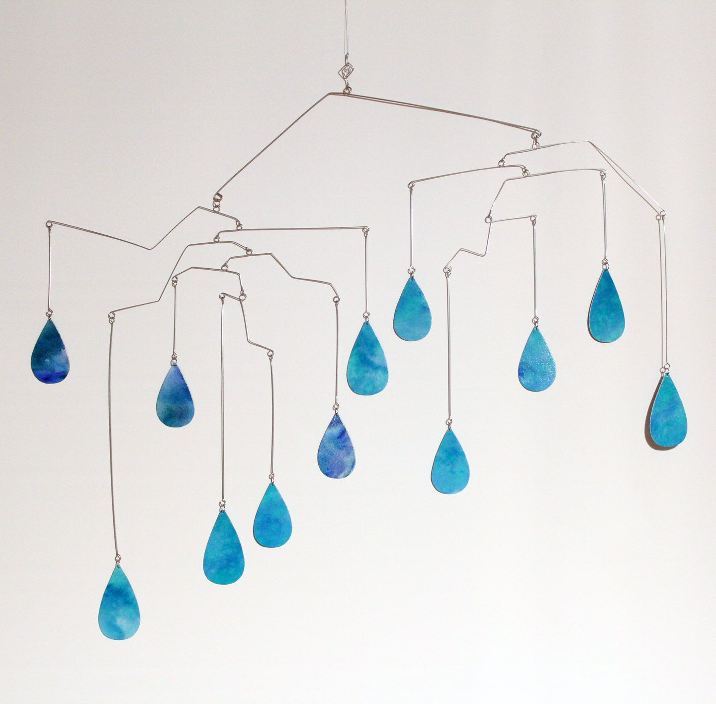 Rain Drops Art Mobile Cool Winter Hanging Mobiles Aqua