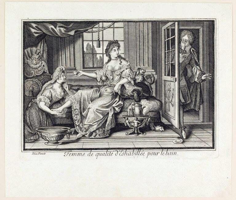 D'après Antoine Dieu, Ni olas Arnoult (actif de 1674 à 1710), Femme de qualité déshabillée pour le bain, Louvre