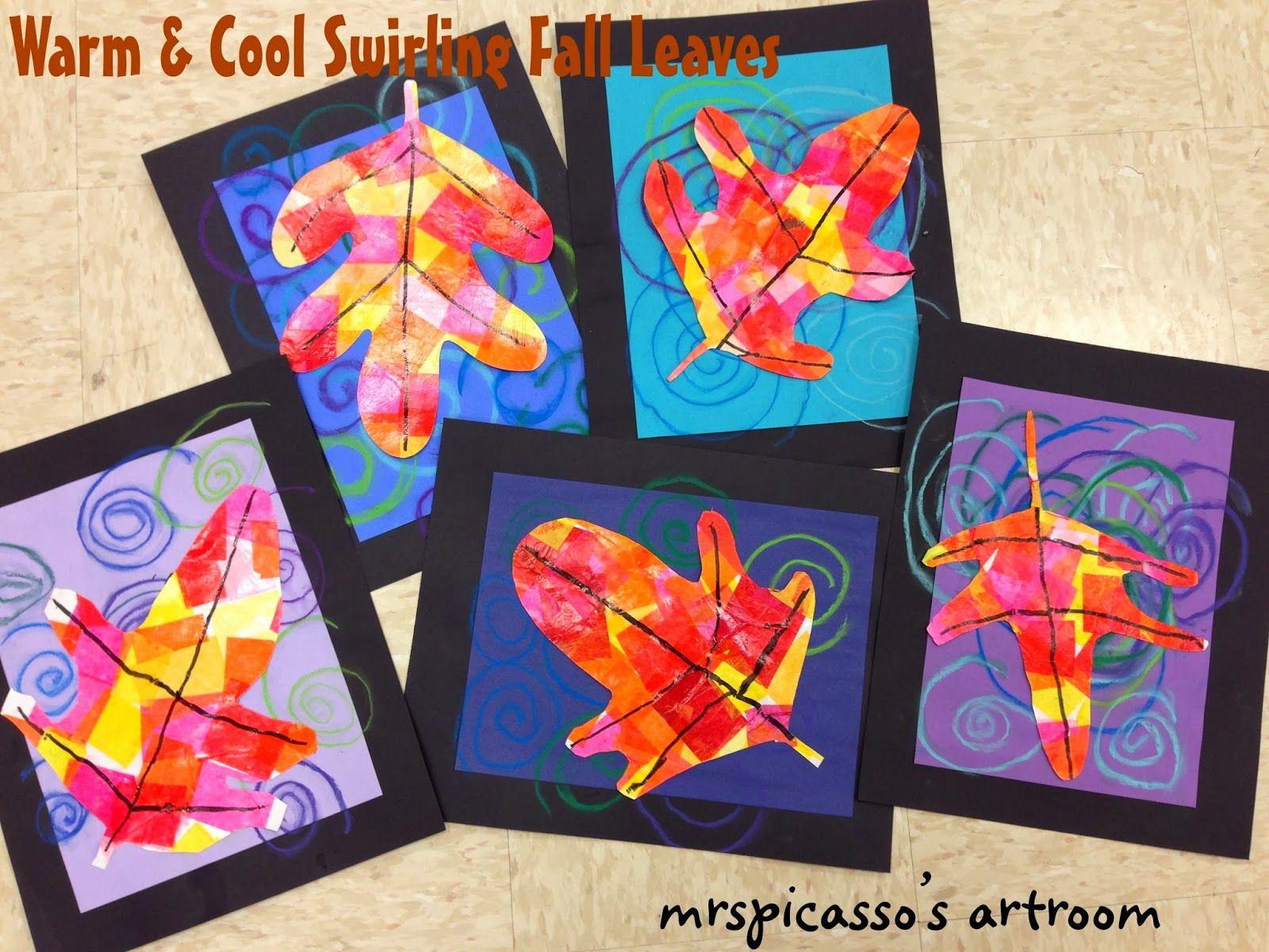 Warm & Cool Swirling Leaves | Kindergarten art lessons ...