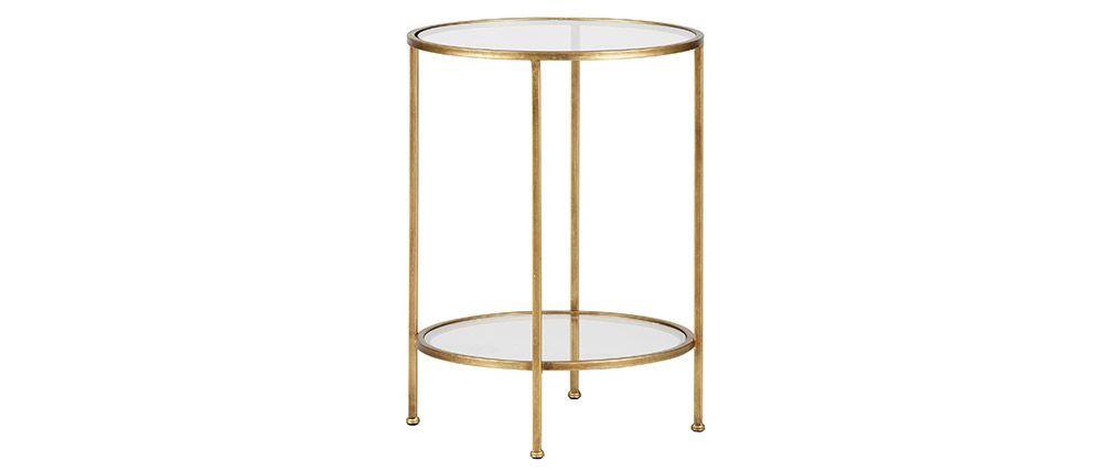 Table D Appoint Deux Plateaux Laiton Dore Pyou Miliboo Table D Appoint Mobilier De Salon Table