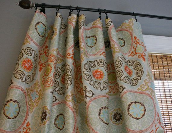 circle curtain panels in orange and blue | Claridge Jacquard Rosella Tango Mango Custom by StitchandBrush, $270 ...