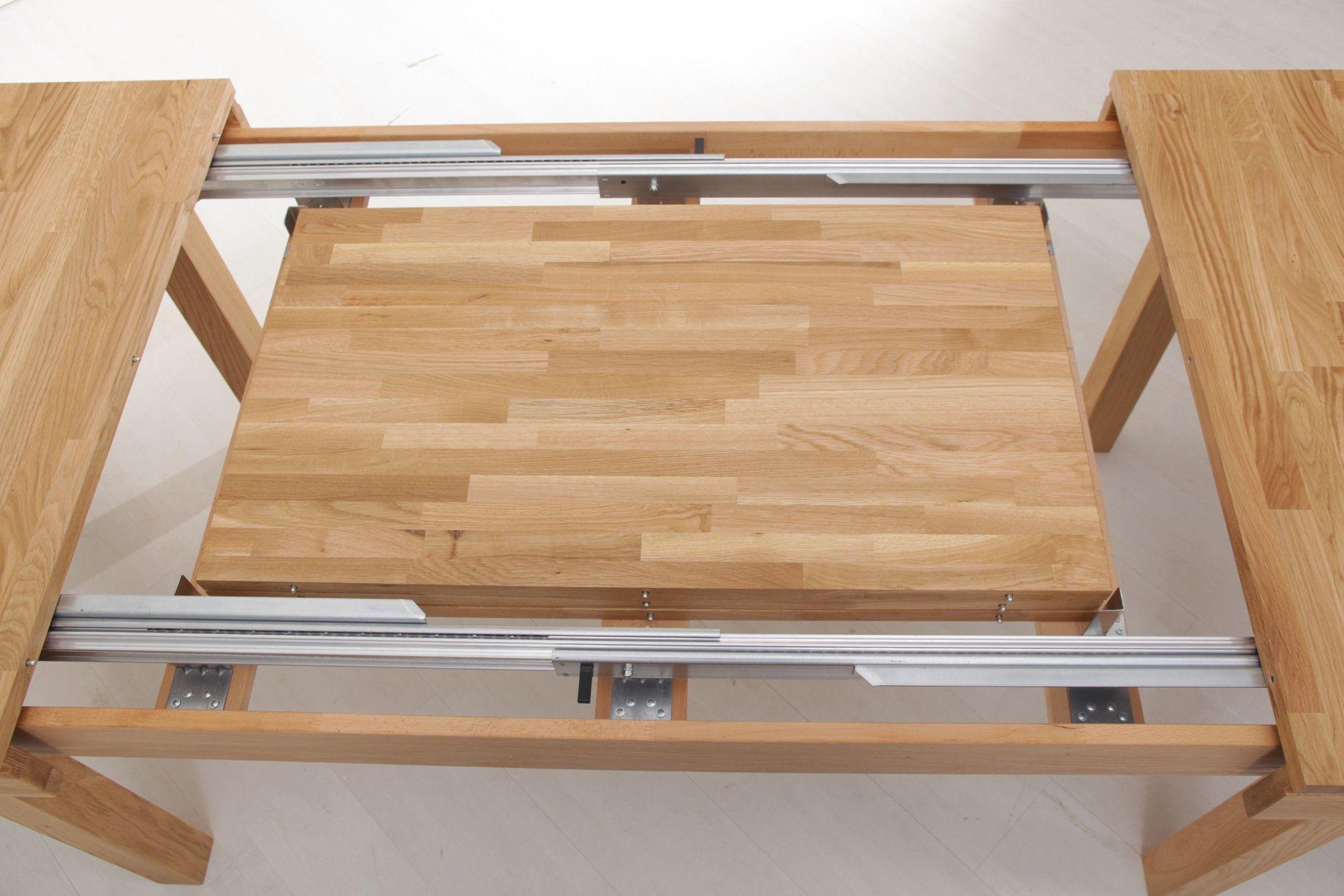 esstisch 160 x 90 cm eiche natur lackiert massiv ausziehbar auf 3 10m ideen rund ums haus. Black Bedroom Furniture Sets. Home Design Ideas