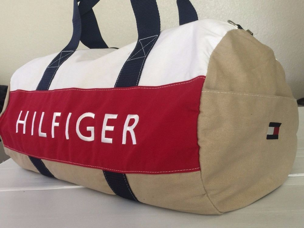 Nwt Tommy Hilfiger Duffle Gym Bag Color Khaki Red White Large