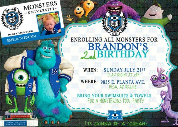 Monsters University Invitation In 2019 Products Monsters