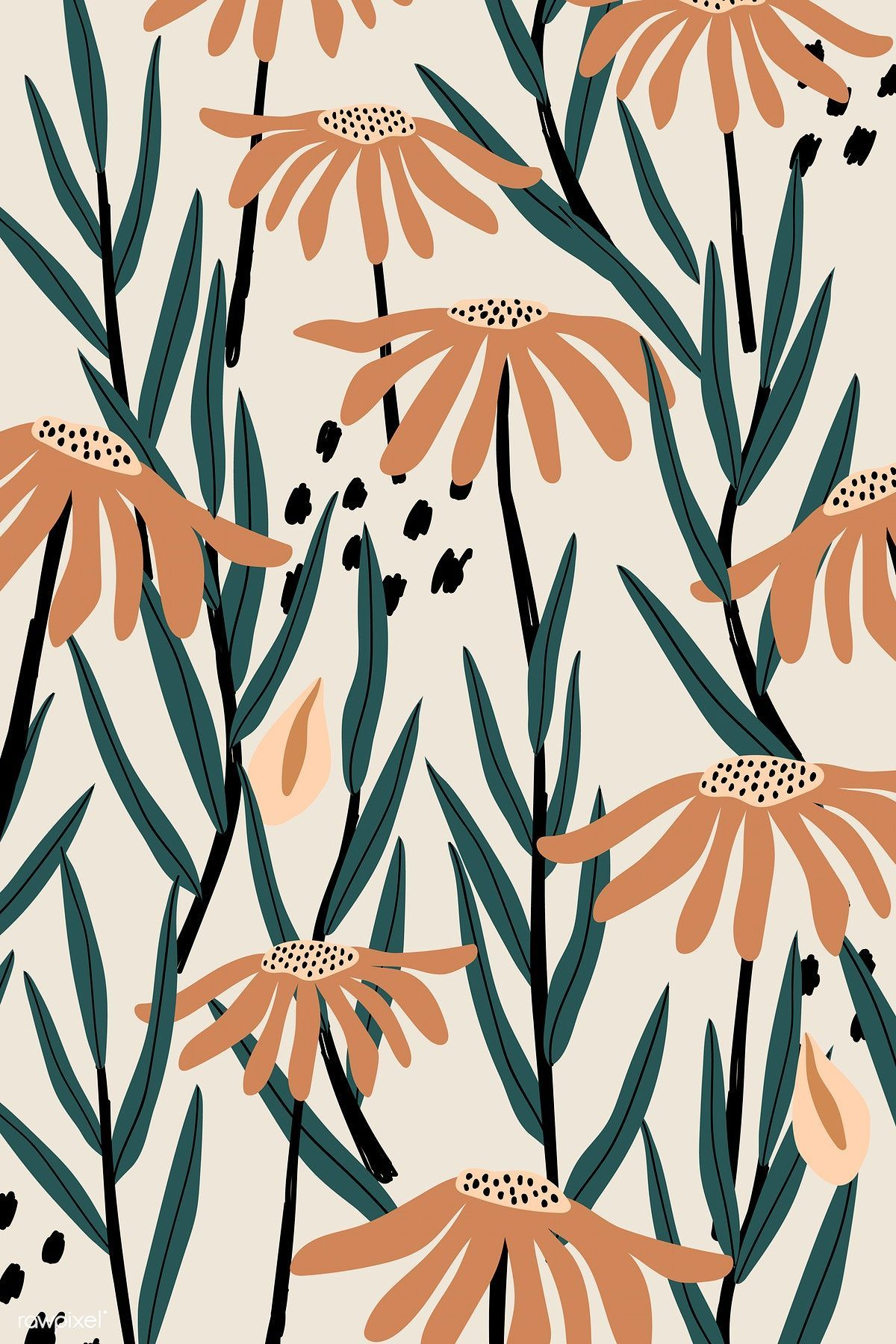 Photo of Download premium vector of Brown daisy patterned beige background vector – #back…