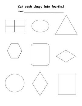 A simple fraction worksheet cutting shapes into fourths