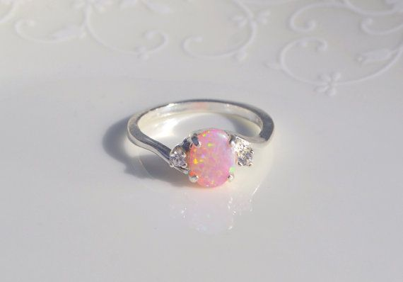 Pink Opal Ring Sterling Silver Cubic Zirconia by NaturallyByGrace