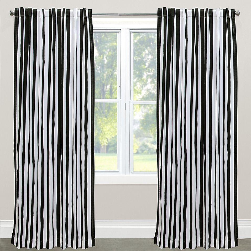 Bacati Dots//pin Stripes Black Large Dots Curtain Panel