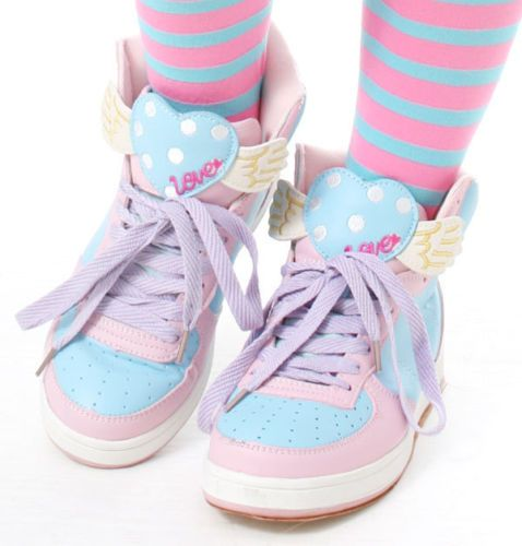 Cutie Kawaii Decora Sweet Heart Wing Pastel Pink Purple Hi Top Sneaker Teen Amo | eBay