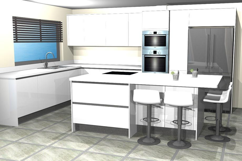 #Beautiful Design for a stunning #whitekitchen #handleless #highgloss #kitchendesign #kitchenremodel #bravermankitchens