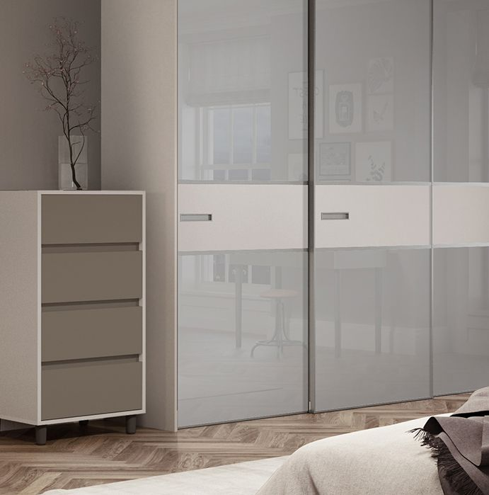 Premium Mini 3 panel fineline sliding wardrobe doors in Light Grey glass and Cashmere with a Titanium frame. & Premium Mini 3 panel fineline sliding wardrobe doors in Light Grey ...