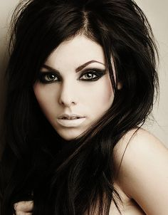Nude black hair pale skin red lips